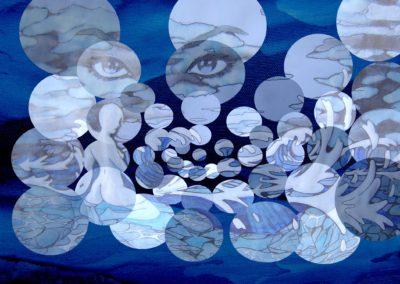 tableau fond bleu + dessin eau bulle